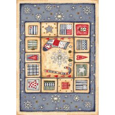Winter Seasonal Holiday Patch of Snow Blue/ Biege Area Rug