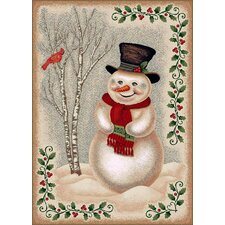 Winter Seasonl Snowman Beige Area Rug