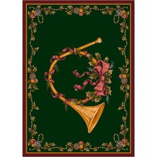 Winter Seasonal French Horn Green Area Rug