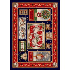 Winter Seasonal Holiday Partridge in a Pear Tree Christmas Red Area Rug