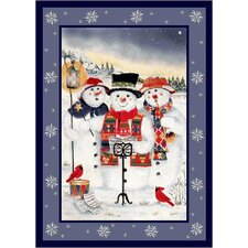 Winter Seasonal Holiday Merry Minstrels Snowman White/ Blue Area Rug