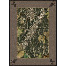 <strong>Milliken</strong> Mossy Oak Breakup Solid Border with Deer Heads Novelty Rug