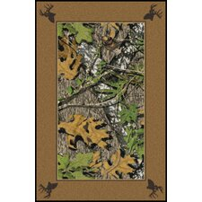 Mossy Oak Obsession Solid Border with Deer Heads Area Rug