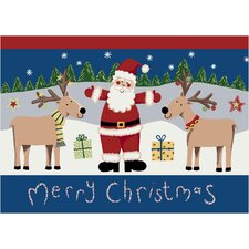 Winter Santa Deer Christmas Rug