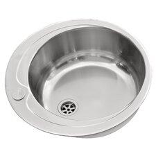 48.5 x 48.5cm Round Kitchen Sink in Chrome in Chrome
