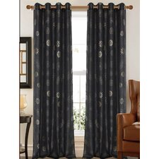 Briana Faux Silk Flower Printed Curtain Panel