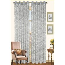 Gina Two Tone Zebra Print Grommet Top Curtain Panel