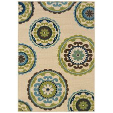 Caspian Ivory & Green Indoor/Outdoor Area Rug