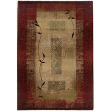 Generations Dark Red Plant Area Rug