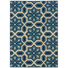 City Ivory & Blue Indoor & Outdoor Area Rug