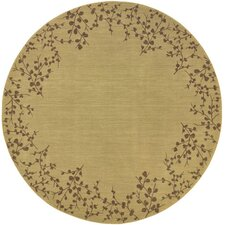 Allure Tan Floral Trim Rug