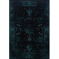 Revival Black/Teal Rug