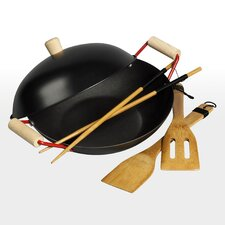 "5 Piece 11"" Non-Stick Steel Wok Set"