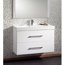 Jenta Wash Basin and Wall Hung Unit in White with Drawers