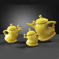 Teapots in Yellow Glaze (Set of 3)