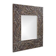 Vines Square Framed Mirror in Deep Merlot