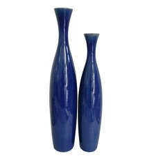 "Ceramic 19"" and 22"" Tall Vase in Cobalt Blue Glaze (Set of 2)"