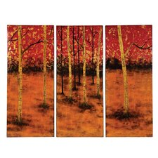 Tree Print Lacquered Panel 3 Piece Painting Print Set