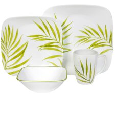 Square Bamboo Leaf 16 Piece Vitrelle Glass Dinnerware Set
