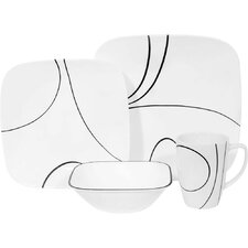 Square Simple Lines 16 Piece Vitrelle Glass Dinnerware Set