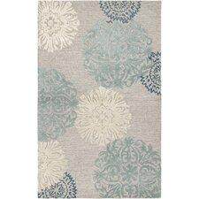 Etta Light Gray & Blue Floral Area Rug