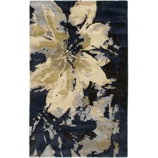 Highland Navy/Black Abstract Area Rug