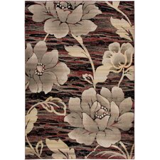 Bayside Red Floral/Geometric Area Rug