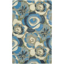 Floral Blue/Cream Area Rug
