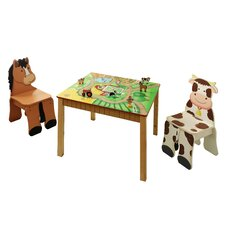 Happy Farm Kids 3 Piece Table and Chair Set