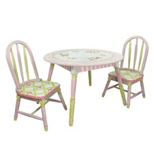 Crackled Rose Kids 3 Piece Table and Chair Set
