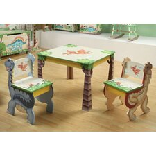 Dinosaur Kingdom Kids 3 Piece Table and Chair Set
