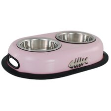 Double Cat Bowl in Pink