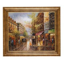 'Rainy Days in Paris' Framed Original Painting on Canvas