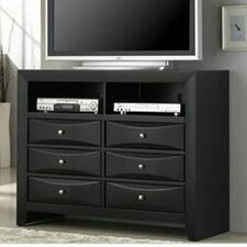 Bevelled Media 6 Drawer Dresser