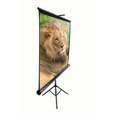 "MaxWhite Tripod Series Tripod / Portable Pull Up Projector Screen - 99"" Diagonal in Black Case"