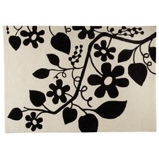 Flora White/Black Area Rug