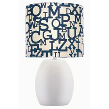 Ceramic Lettered Table Lamp with Drum Shade