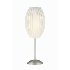 "Egg Satin Steel 25"" H Accent Table Lamp with Oval Shade"