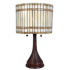 <strong>Lite Source</strong> Danton 2 Light Table Lamp with Tiffany Glass