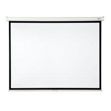 "Matte White 100"" diagonal Manual Projector Screen with Slow Retraction"