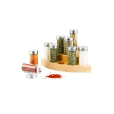 9 Piece Wooden Corner Jar Spice Rack Set