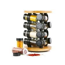 16 Piece Round Bamboo Jar Spice Rack Set