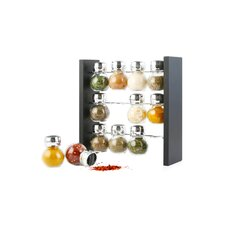 12 Piece Jar Spice Rack Set on Wooden Stand