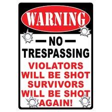 Warning No Trespassing Tin Sign Wall Art