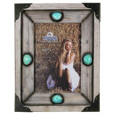 Wood Western Picture Frame with Turquoise Stone