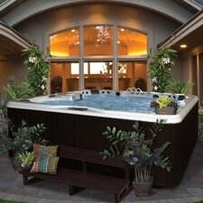 6-Person 56-Jet Bench Spa with Backlit LED Waterfall