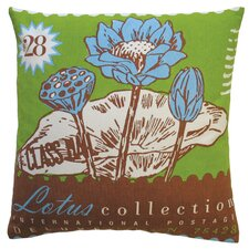 Postage Cotton Lotus Print Pillow