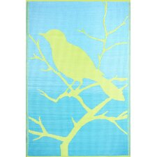 Birds Yellow / Turquoise Outdoor Rug