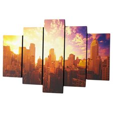 5 Piece Good Morning New York Canvas Art Set