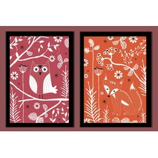 Fox and Owl Duo Framed Graphic Art (Set of 2)